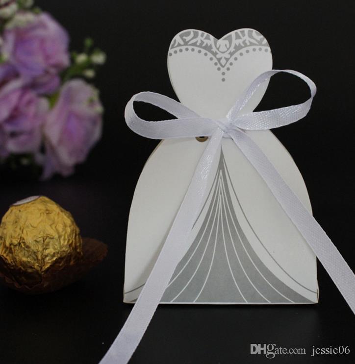 Vestido TUXEDO Novia novio Favor de la boda Cinta Candy Bomboniere Box Aniversario Día de San Valentín Compromiso Trata Cajas de papel