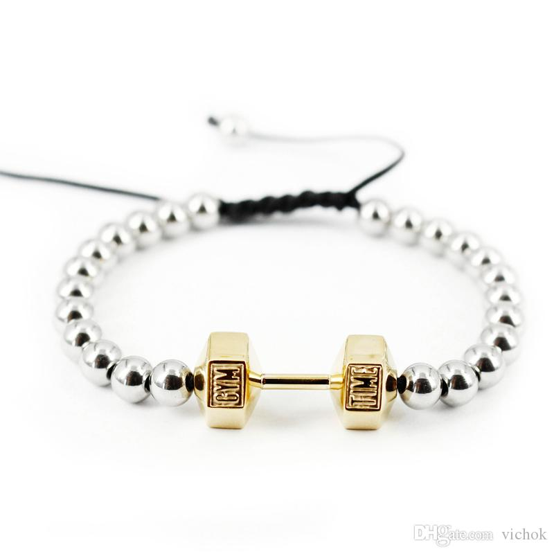 316L Stainless steel Bracelet GYM TIME Fashion Beads Charm Barbell shape Bracelet Cotton Wire top quality Party Gift for men women VICHOK