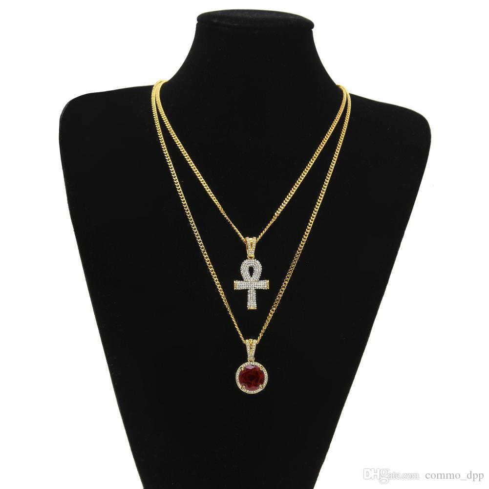 Egyptian large Ankh Key pendant necklaces Sets Round Ruby Sapphire with Rhinestones Cross Charms cuban link Chains For mens Hip Hop Jewelry