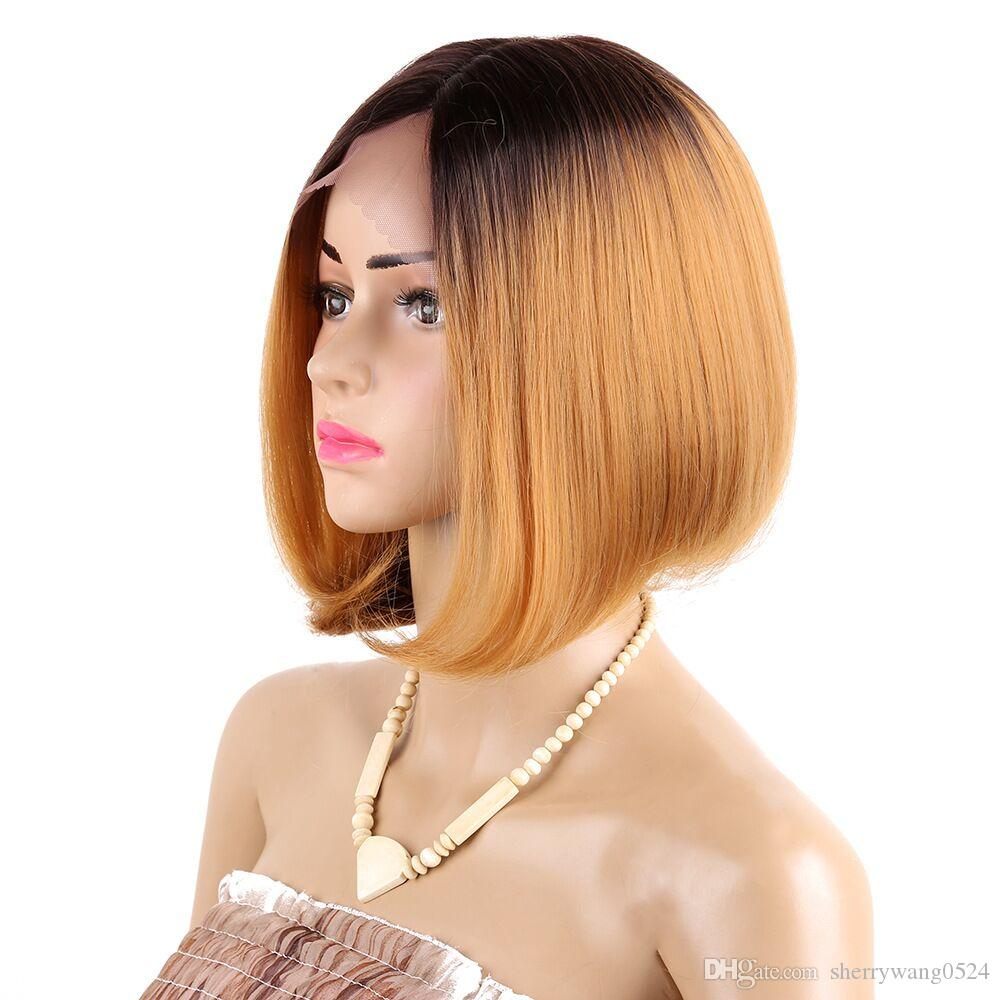 Synthetic Hair Short Straight BOB Wig Middle Part Ombre Dark Root Natural #4/Synthetic Lace Hair Wigs For African American 12 inch