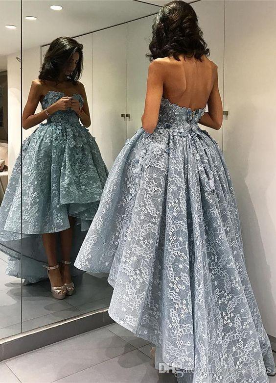 2017 yeni yüksek düşük balo dress 3d çiçek aplikler sevgiliye açık mavi akşam parti kıyafeti balo pageant dress