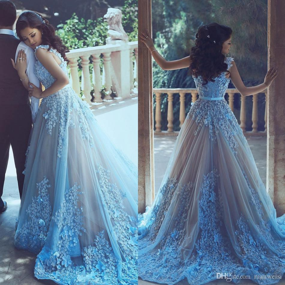 Vestido de festa longo azul celeste
