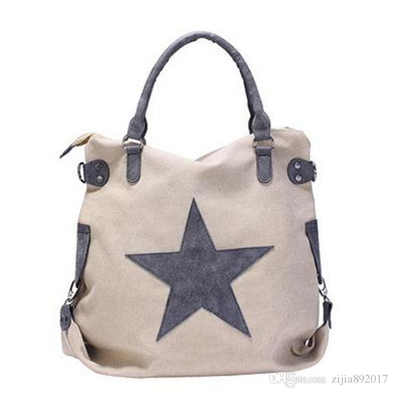 Vintage Big Star Printed Canvas Tote Handbag Women s Multifunctional Travel Shoulder  Bag Letters Messenger Bolsos J129 Star Printed Canvas Tote Handbag ... 2da2010b0c172