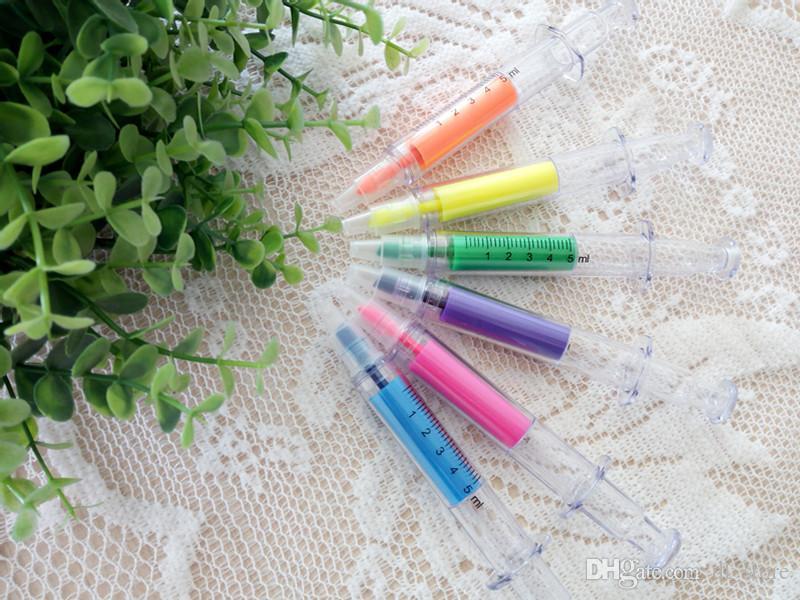 Pluma de luz alta Jeringa creativa pluma de color de agua es mezclados escuela oficina papelería Negocios pormotion suministros DL_CR015