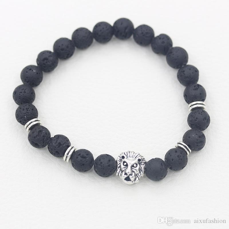Natural Stone Men Bracelets Lava Gold Silver Leopard Lion Head Beaded Bracelet for Anniversary Gift Bangle Jewelry