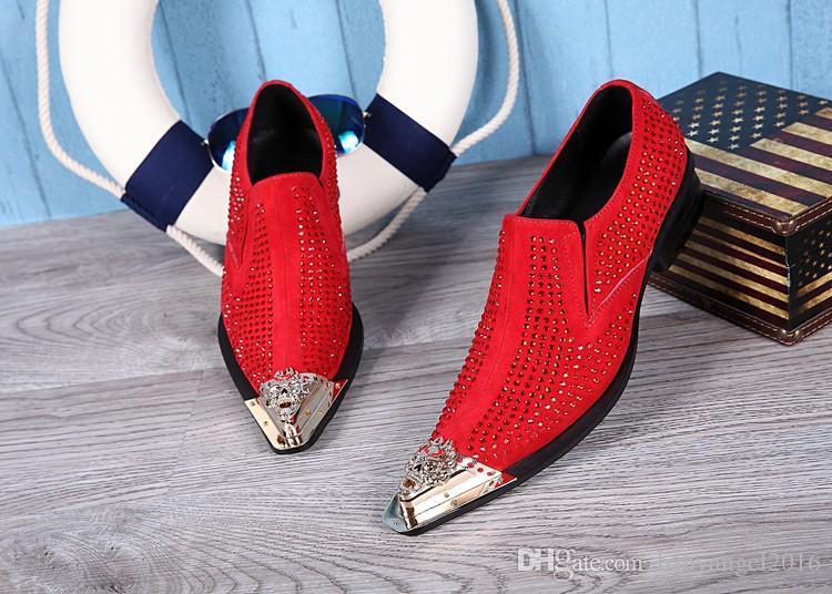 Neue Echtes Leder Formelle Schuhe Spitz Kristall Strass Italienische Herren Kleid Schuhe Rot Hochzeit Schuhe Männliche Wohnungen Große Größe