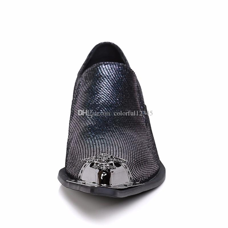 Men Dress Shoes Italian Style Leather Shoes Slip On Blue Mens Glitter Shoes Metal Tipped Mens Loafers Leather