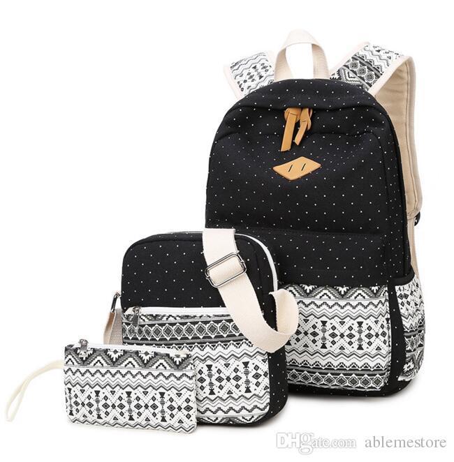7017ecbf002 Cheap Wholesale 3piece/set Canvas Printing Backpack Women School Bags for  Teenage Girls Cute Bookbags Vintage Laptop Backpacks Female