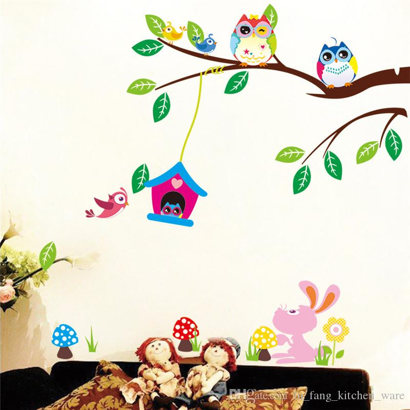 fashion Creative DIY wall sticker for kids bedroom Carved Removable cute owl on Branches cartoon Sticker Decor pvc poster 2017 Wholesale