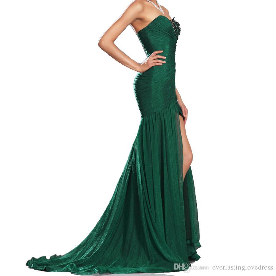New Style Mermaid Ruched Chiffon Embroidery Pleated Chiffon Evening Dress Front Slit Formal Prom Dresses vestido de festa