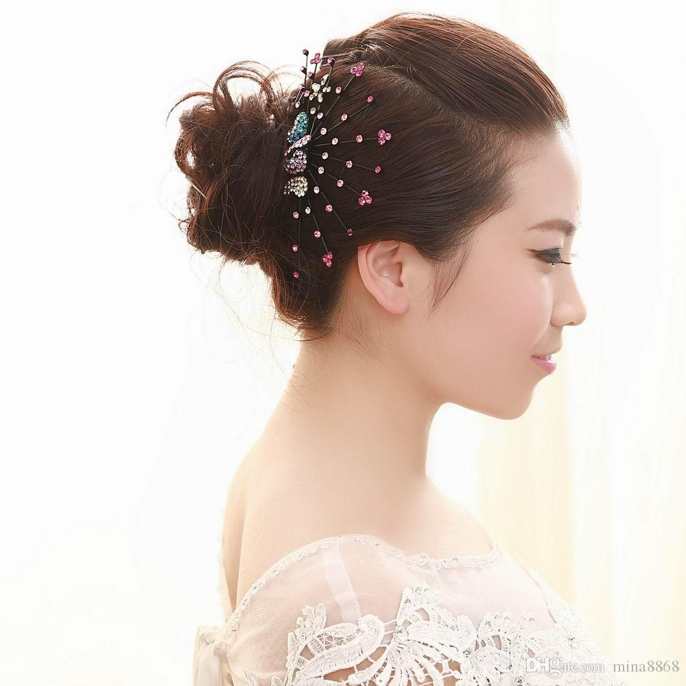 Bunte Kristall Hochzeit Haarschmuck Braut Schmetterling Haar Kämme Strass Silber Farbe Hochzeit Haarschmuck Haarnadel Großhandel