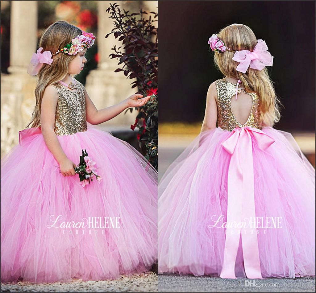 bd4434458 Lovely Gold Sequins Flower Girl Dresses 2017 Girls Pageant Party Gowns for  Wedding with Ribbon Baby Pink Tulle Skirt Princess Kids Dresses
