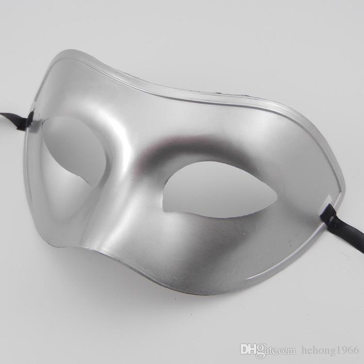 Party Masken Flache Maskerade Prinz Maske Make-up Ball Concise Viskademaske Solid Color Gold Silber Schwarz Weiß Domino 1 2ts