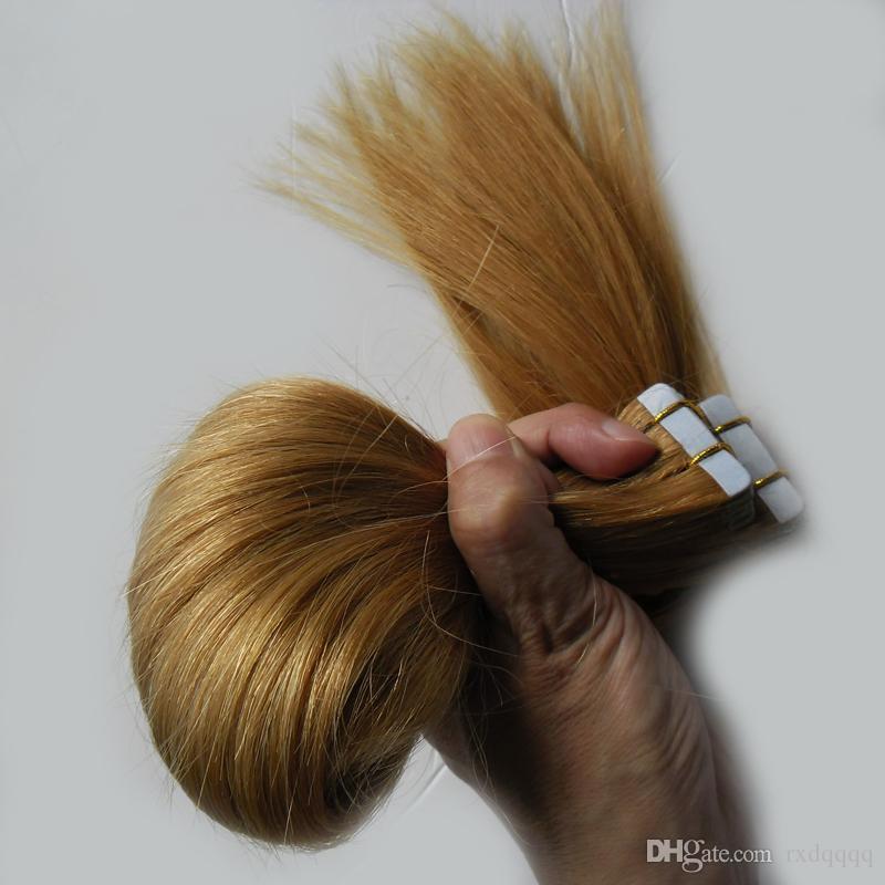 Brazilian virgin hair honey blonde Pu Skin Weft Hair Extensions Adhesives 100g tape in human hair extensions