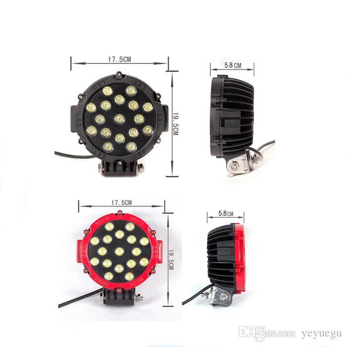 7Inch 51W Car Round LED lavoro luce 12 V ad alta potenza 17 X 3 W luce del punto 4x4 fuoristrada trattore ATV SUV guida
