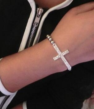 Frauen Kristall Strass Kreuz Liebe Unendlichkeit Stretch Diamant Perlen Armbänder Armreifen Geschenk Gold Silber Perlen Kette Armbänder Weihnachtsgeschenk