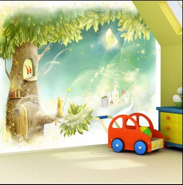 Wholesale Custom Large 3d Mural Wallpaper Room Girls Cute Cat Kids Bedroom Tv Sofa Background Wall Covering Dream Castle Fairy Tale World Window