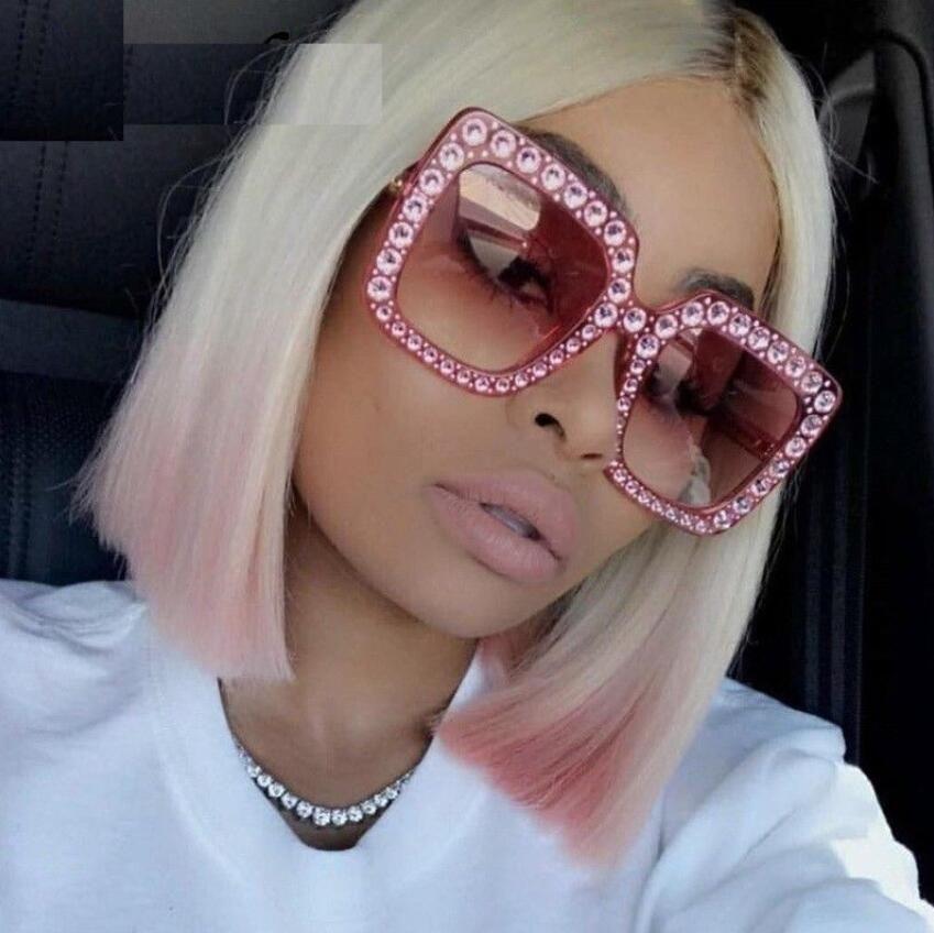 131dad69c0a Oversized Crystal Gold Black Square Sunglasses 2018 Women Luxury Brand  Design Retro Mirror Sun Glasses Clear Lens Acetate Shades Oculos UV Square  Crystal ...