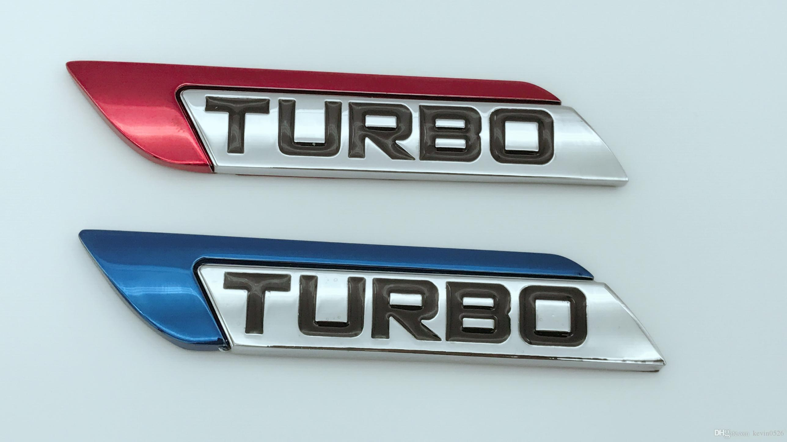New Red Blue Turbo Logo Metal Car Auto Suv Body Fender