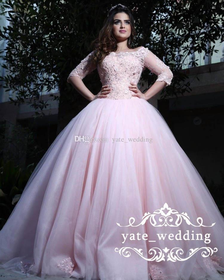 Abiti 16 palla rosa Modest Quinceanera Abiti Bateau Neck Prom Dresses 3/4 maniche lunghe in pizzo Appliques Tulle Corsetto Lace Up dolci