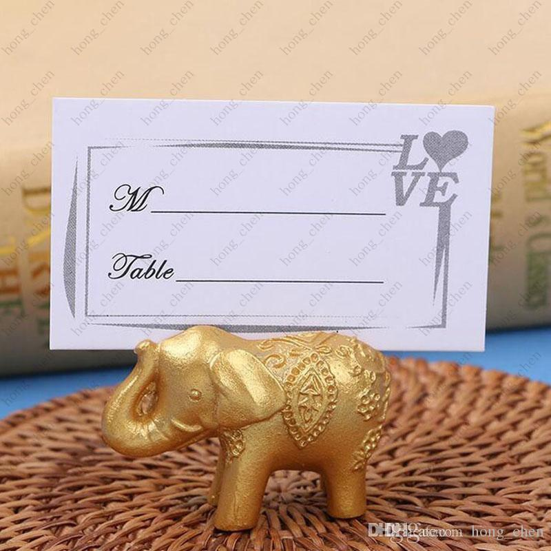 Lucky gold elephant place card holders table name holder