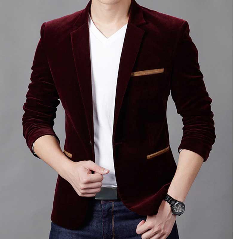 Compre Al Por Mayor Formal Male Blazer Hombres Trajes Chaquetas Slim Fit Un  Botón De Vino Rojo Abrigos Slim Mens Blazers Traje De Esmoquin Boda Jaqueta  X06 ... b25af6c41f0