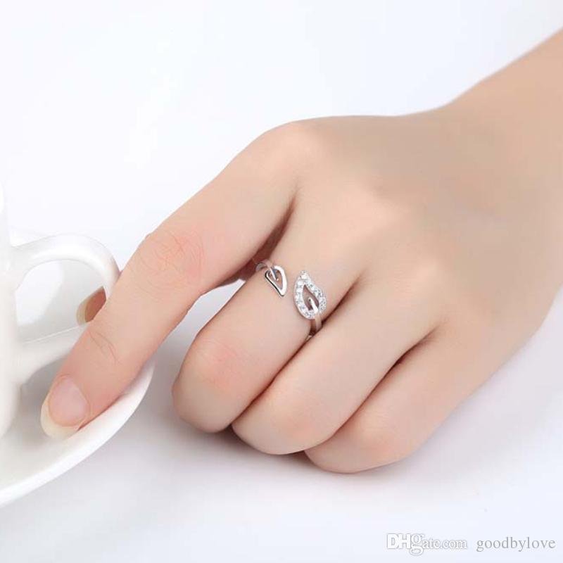Открытый Размер CZ Камни Кластера Лист 18 К Белое Золото Покрытием Партии Свадебное Кольцо Пальца Мода Ювелирные Изделия Бижутерии для Женщин Девочек