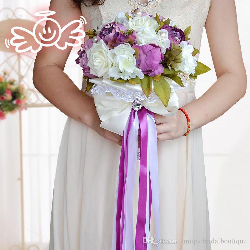 Mazzi di nozze artificiali vintage vendita calda nobile ed elegante francese peonia bouquet da sposa fiori rosa cioccolato colore viola