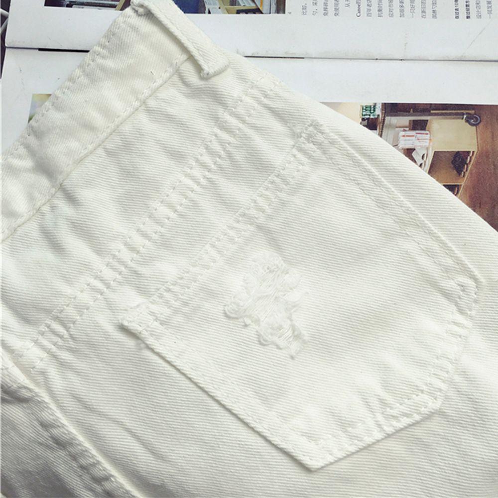 Good A++ Color box printing hole cowboy spring new female nine points Harlan pants PW016 Women's Pants & Capris