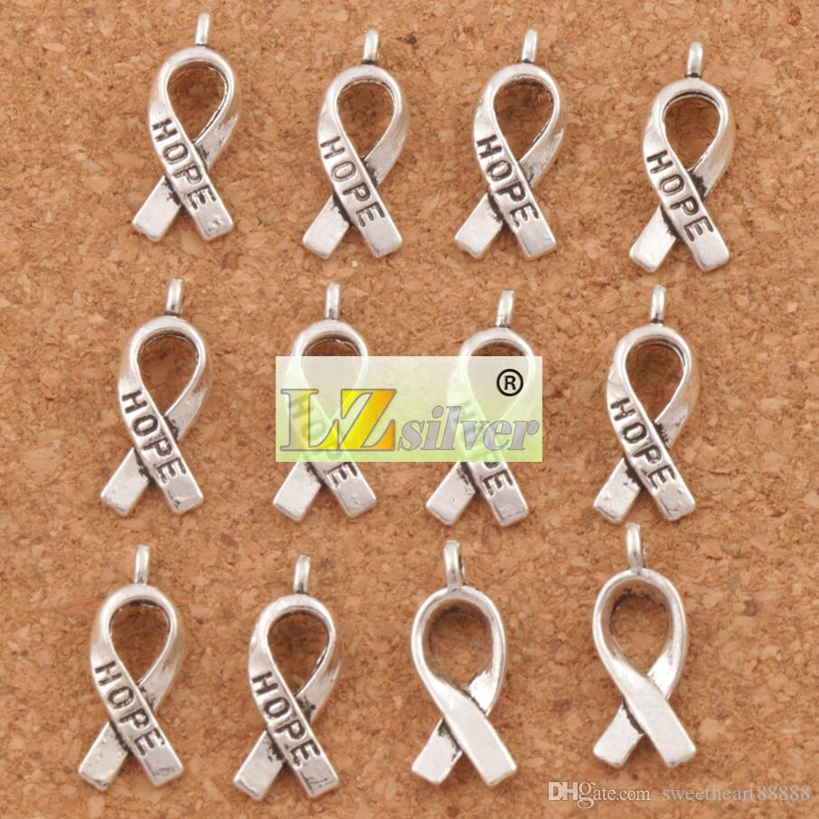Awareness Hope Ribbon aleación de Metal Encantos 150 unids / lote 7.7x18.6mm Colgantes de Plata Tibetana Moda Fit Pulseras Collar Pendientes L088