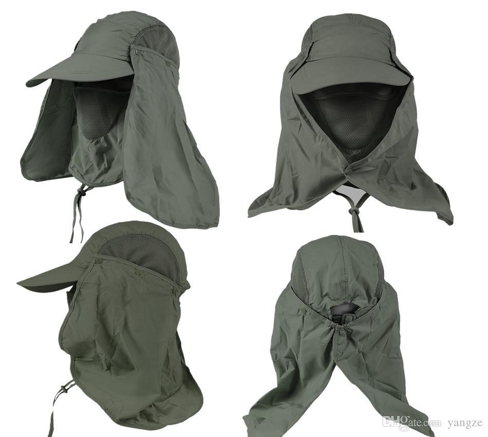 20 pz / lotto Più Nuovo Outerdoor Protezione UV Sun Cappello di Pesca Con Rimovibile NeckFace Flap Copertura Escursionismo Camping Visor Caps ZL3026