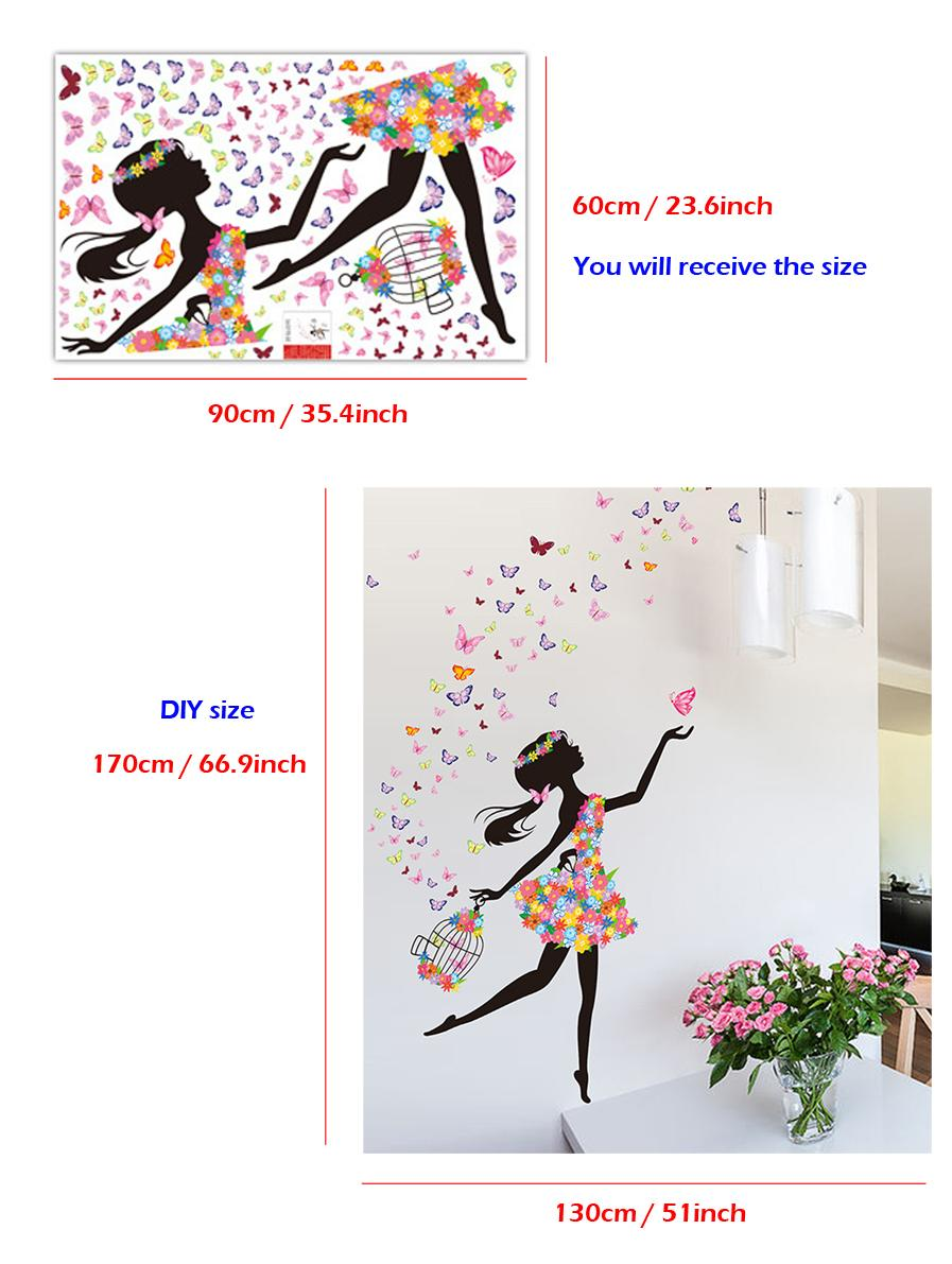 """Creative """"Girl Butterfly Flowers"""" Wall Stickers for Livingroom Home Decoration Removable Wall Sticker Butterfly Mural Art Free Shipping"""