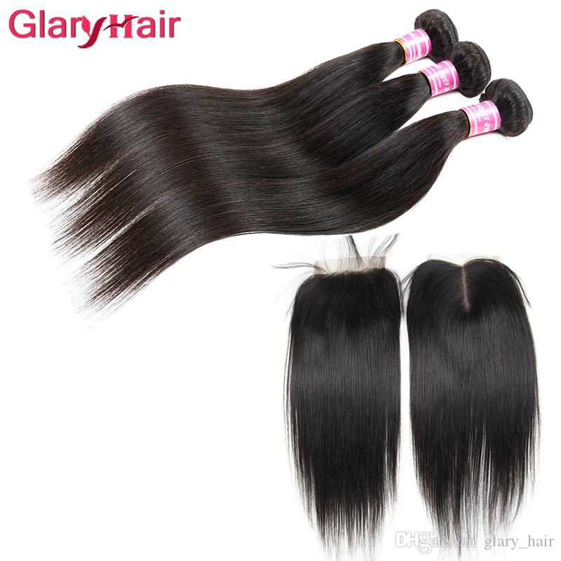 New Arrival Unprocessed Mink Brazilian Straight Virgin Hair Weaves Closure 3 bundles with Top Lace Closure Remy Human Hair Ponytail Wholesal