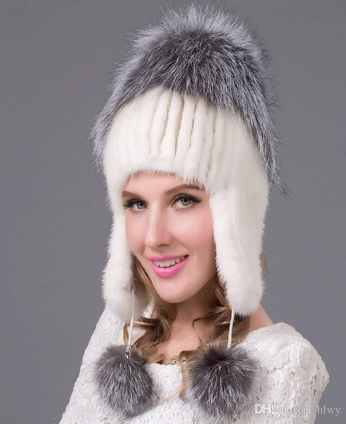 Compre Rusia Sombreros De Invierno Para Las Mujeres Auténtico Mink Fur Hat  Con Piel De Zorro De Plata 2016 Señora De Moda De Gama Alta Tapa Femenina A  ... 3cb1ff1959d