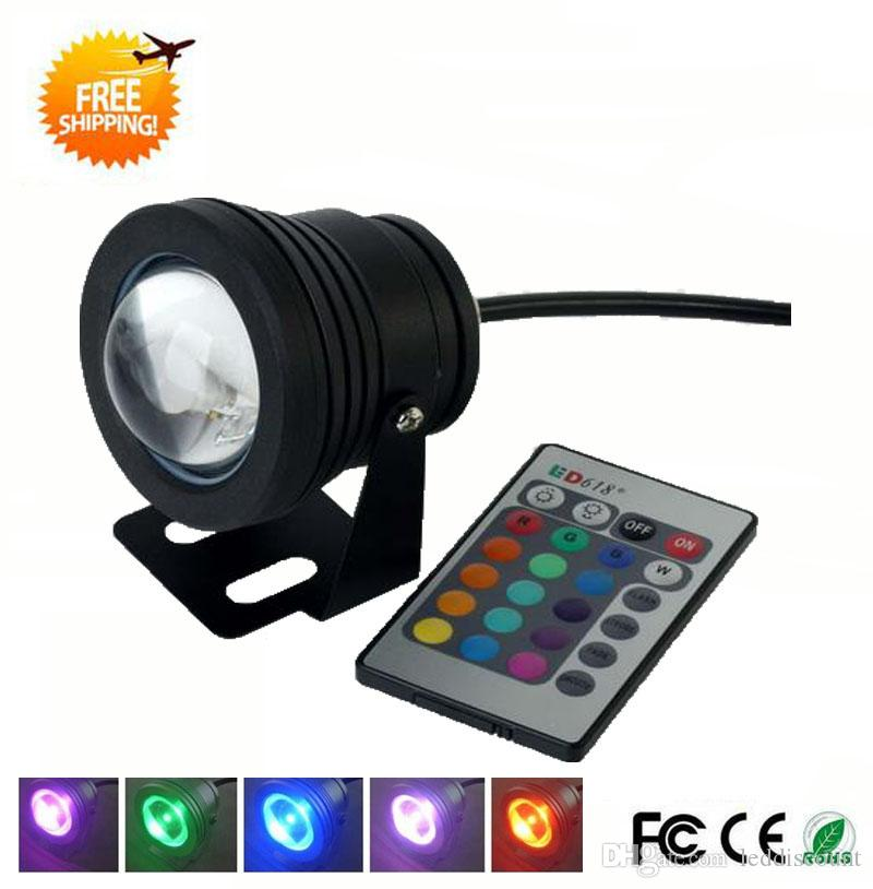 Led Lamps Ip68 10w 12v High Quality Led Light Underwater Rgb 1000lm Waterproof Fountain Light 16 Color Change With Remote Controller