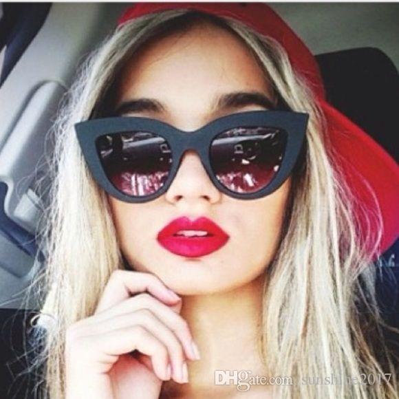 matte black cat eye pink sunglasses woman popular brand mirror coating rose gold acetate frame sunglasses design 2017 fashion shades gafas