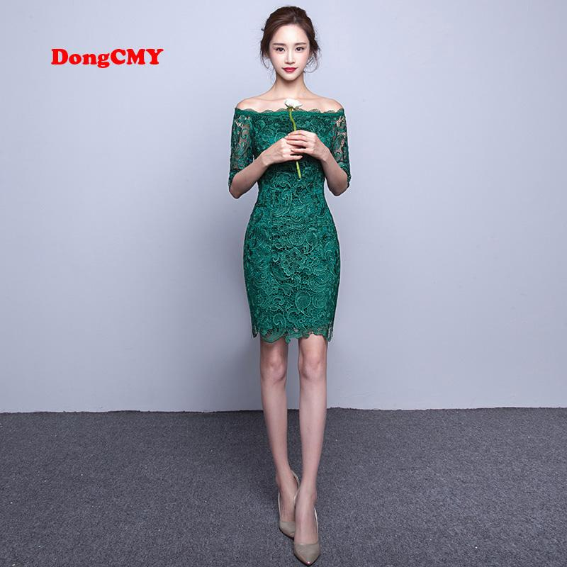 2018 Lace Short Fashion Bandage Elegant Medium Sleeves Lace Green ...