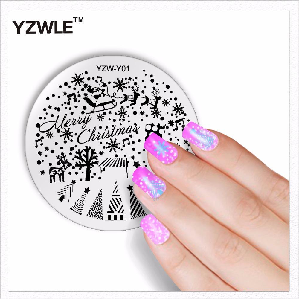 Wholesale Yzwle 1 Sheet Fashion Round Christmas Design Nail Art