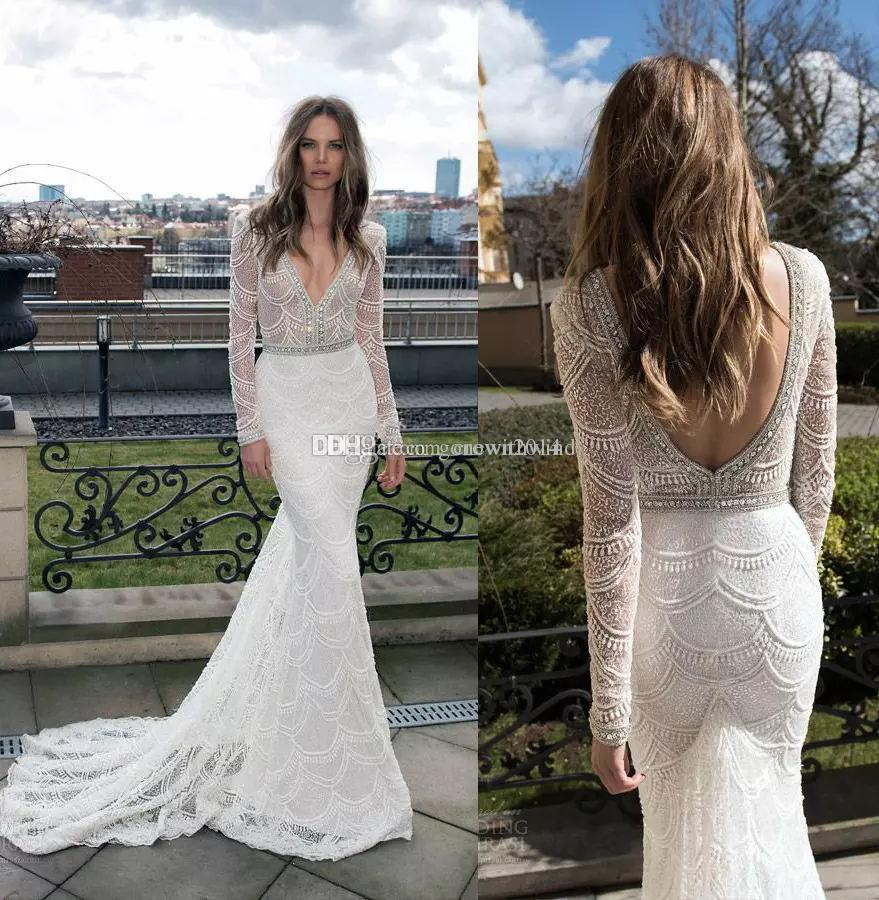 Long Sleeve Mermaid Lace Wedding Dresses 2017 Berta Bridal Gown Pearls Beaded Sequin Plunging Neckline Backless Gowns Style Of: Dd Neck Wedding Dress At Websimilar.org