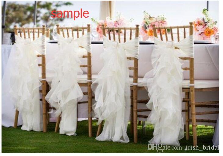 2016 Organza Ruffles Vintage Romantic Beautiful Chair Sash Chair Covers Wedding Decorations Wedding Supplies Sample G01