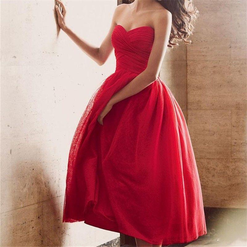 Vestidos de Festa 2017 Stunning Red Ball Gown Prom Dresses Tea-Length Sleeveless Tulle Evening Dresses Party Gowns Hot