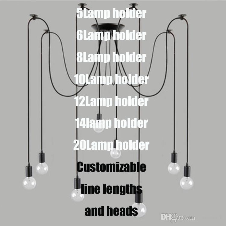Luces de la vendimia moderna araña colgante titular de la iluminación del grupo Edison diy lámparas de iluminación linternas accesorios de mensajero