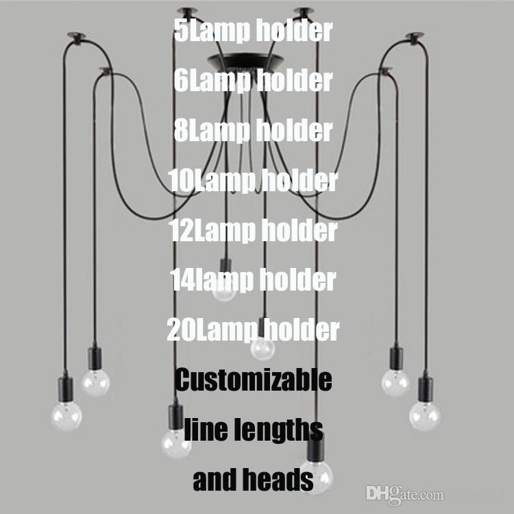 Retro classic chandelier E27 spider lamp pendant bulb holder group Edison diy lighting lamps lanterns accessories messenger wire