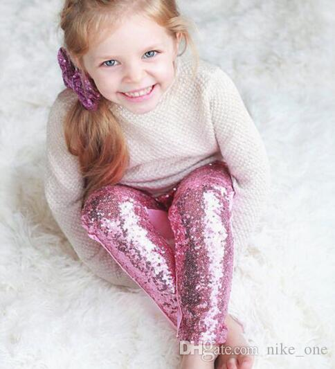 Girl Leggings Children Pink Silver Gold Sequin Leggings Pant Leggings Cotton Sequin Pants Girls Kids Spring Autumn Tight Stock