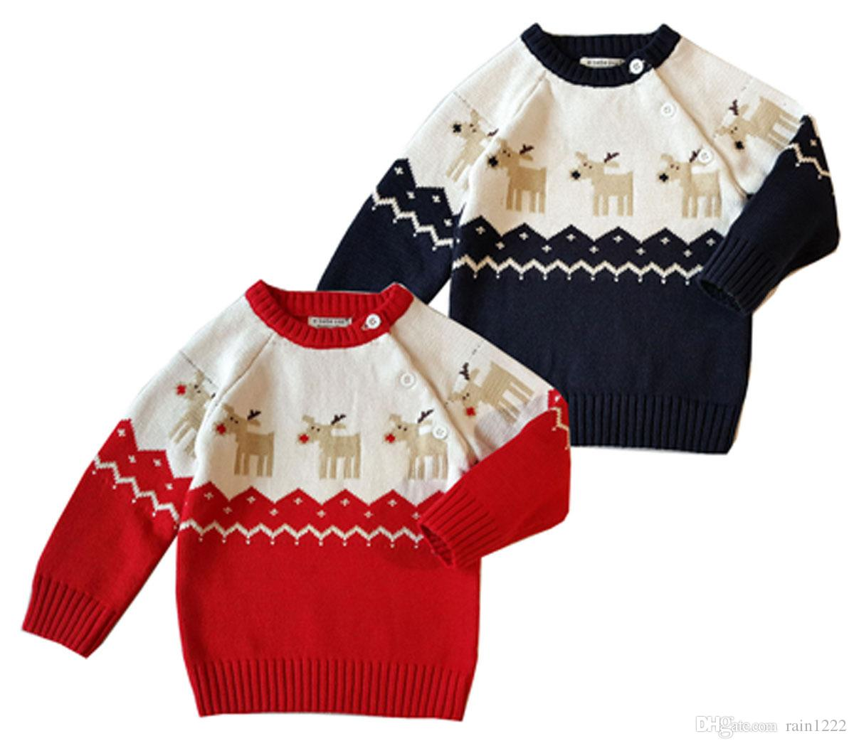 20a007bed22 Christmas Knitted Sweaters Pullover Kids Children Knit Deer Design Jumper  Sweater With Buttons Boys Girls 100% Cotton Knitted Clothing Boy Sweater  Knitting ...