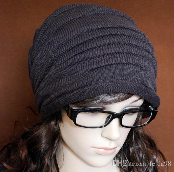 Mode Beanie Skull Caps Herren Damen Frühling Herbst Winter Wolle 4 Farben Gestrickte Rüschen Schichten Plain Hats Caps G582