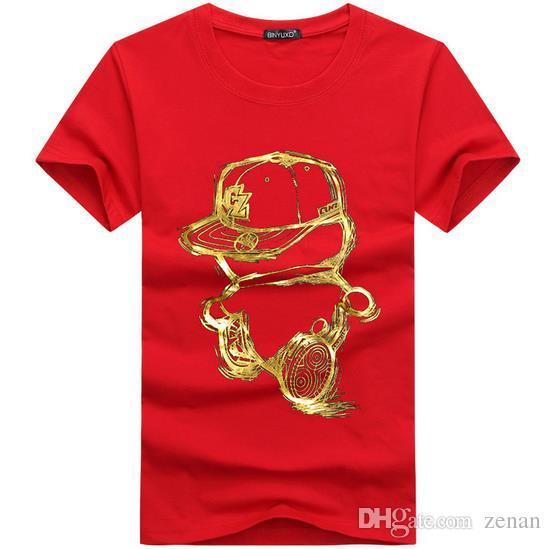 رجل t قميص الموضة 2016 الصيف عارضة المرقعة ولي الطباعة قميص الرجال يتأهل رجل t-shirt زائد الحجم S-5XL مجانية