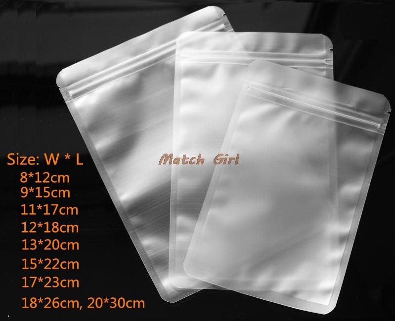 9b837d8963ea 100pcs/lot- Frosted transparent Plastic Gift Bag Zip Lock Seal Flat Bottom  Pouch for Food Coffee Sugar Storage 9 sizes options
