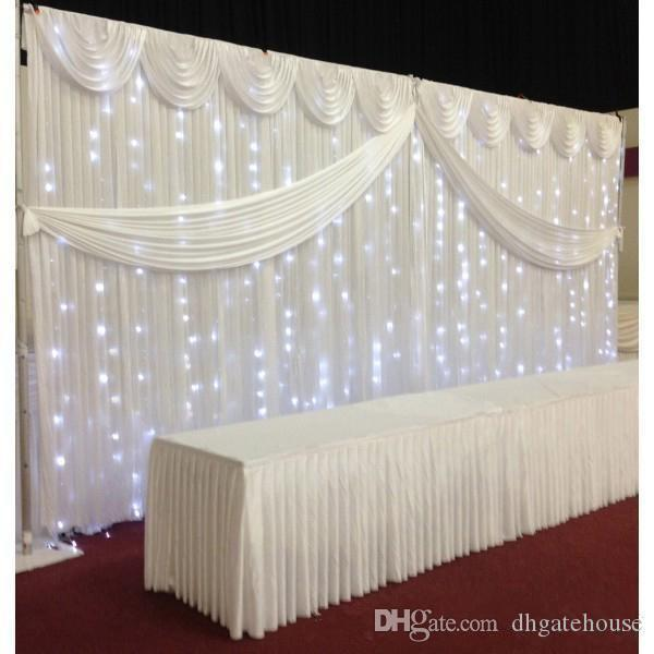 2018 White Ice Silk Wedding Backdrop Curtains Simple
