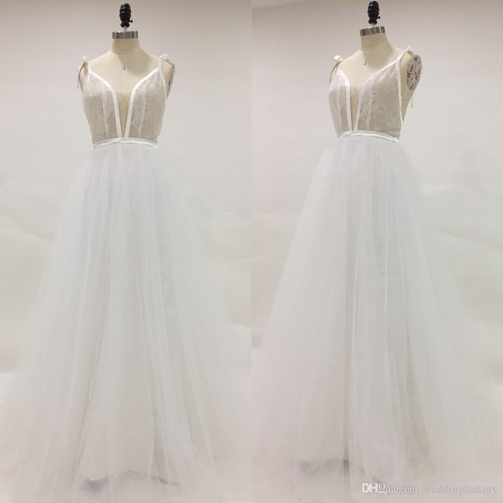 Straight a Line Spaghetti Strap Wedding Dress